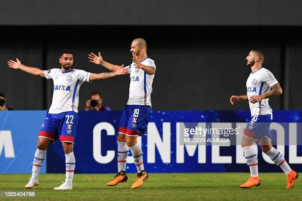Gilberto of Brazil's Bahia celebrates with teammates after scoring against of Uruguay's Atletico Cerro during their 2018 Copa Sudamericana football...