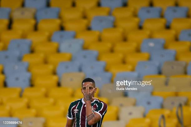 Gilberto of Fluminense celebrates after scoring the first goal of his team during the match between Flamengo and Fluminense as part of the Taca Rio...