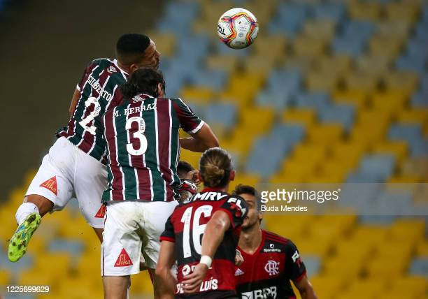 Gilberto of Fluminense heads the ball during the match between Flamengo and Fluminense as part of the Taca Rio the Second Leg of the Carioca State...