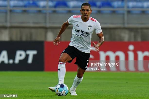 Gilberto of SL Benfica runs with the ball during the Pre-Season Friendly match between SL Benfica and Lille at Estadio Algarve on July 22, 2021 in...