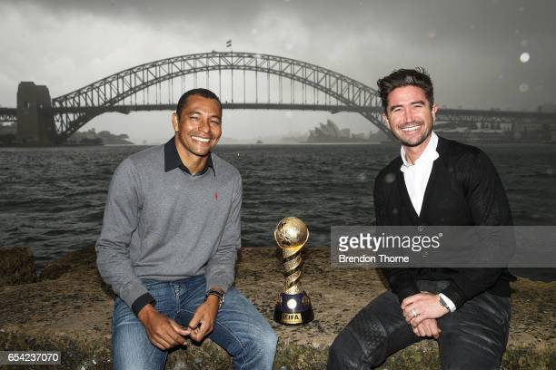 Gilberto Silva and Harry Kewell share a joke with the 2017 FIFA Confederations Cup at Blues Point Reserve on March 17 2017 in Sydney Australia