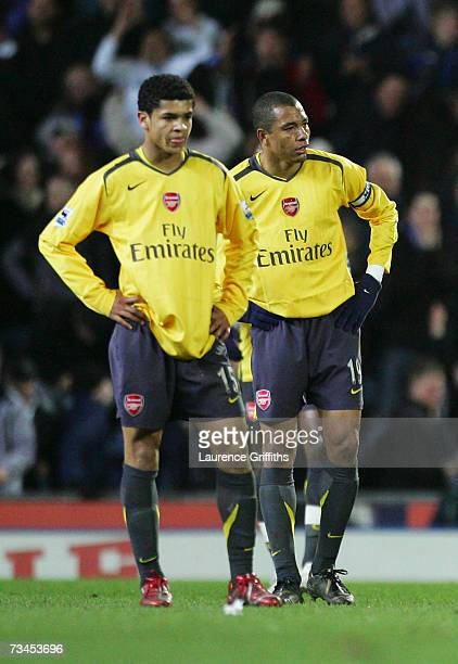 Gilberto Silva of Arsenal and team mate Denilson show their dejection at the end of the FA Cup sponsored by EON 5th Round Replay match between...