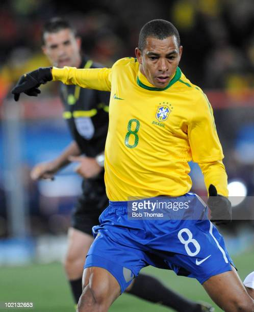 Gilberto Silva of Brazil competes during the 2010 FIFA World Cup South Africa Group G match between Brazil and North Korea at Ellis Park Stadium on...