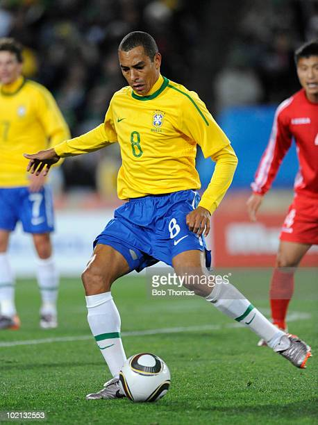 Gilberto Silva of Brazil controls the ball during the 2010 FIFA World Cup South Africa Group G match between Brazil and North Korea at Ellis Park...