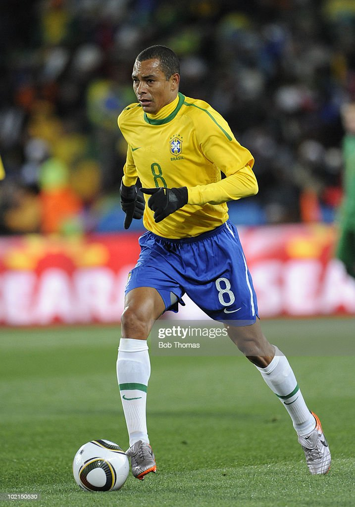 Gilberto Silva of Brazil during the 2010 FIFA World Cup South Africa Group G match between Brazil and North Korea at Ellis Park Stadium on June 15, 2010 in Johannesburg, South Africa. Brazil won the match 2-1. (Photo by Bob Thomas/Getty Images).