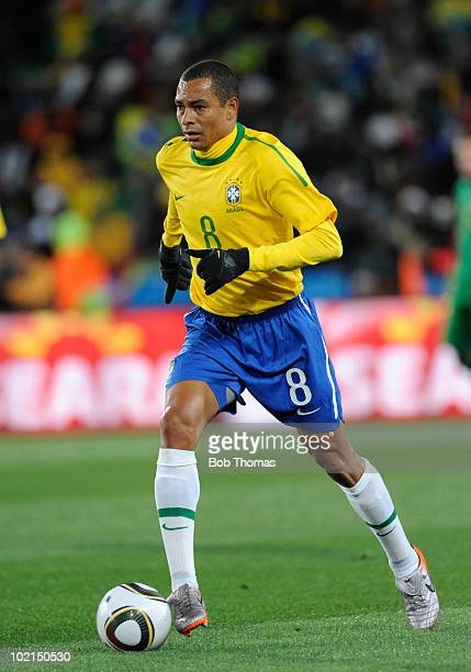 Gilberto Silva of Brazil during the 2010 FIFA World Cup South Africa Group G match between Brazil and North Korea at Ellis Park Stadium on June 15,...