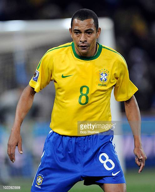 Gilberto Silva of Brazil during the 2010 FIFA World Cup South Africa Group G match between Brazil and Ivory Coast at Soccer City Stadium on June 20...