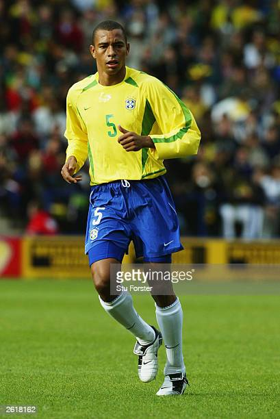 Gilberto Silva of Brazil looks on during the International friendly match between Brazil and Jamaica on October 12 2003 at The Walkers Stadium in...