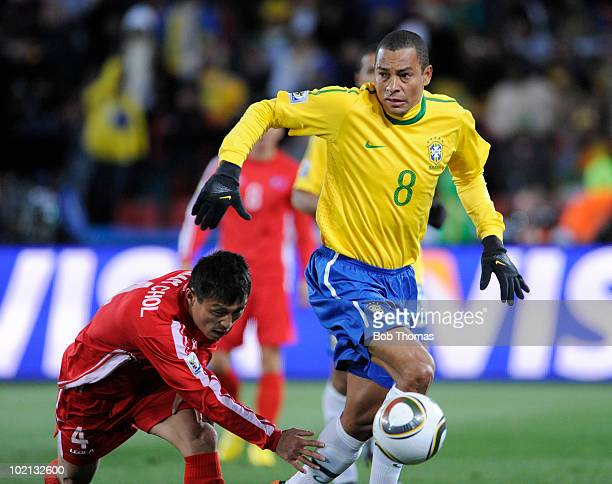 Gilberto Silva of Brazil moves the ball during the 2010 FIFA World Cup South Africa Group G match between Brazil and North Korea at Ellis Park...