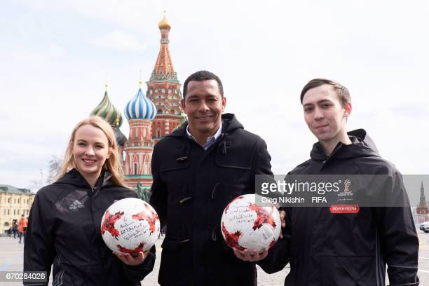 Gilberto Silva poses with volunteers at the Red Square before FIFA Venue Ticketing Centre Opening Event on April 19 2017 in Moscow Russia
