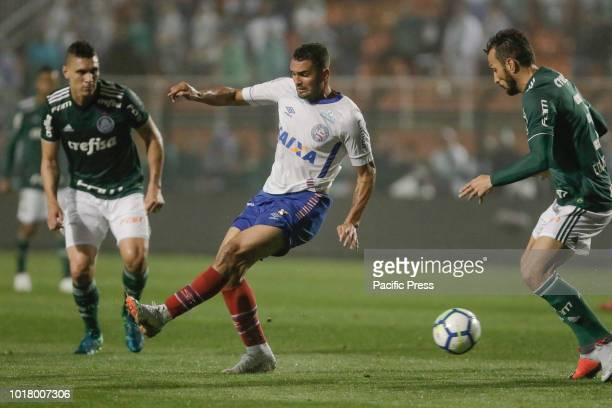 Gilberto Torres Pereira and Edu Dracena during a match between Palmeiras and Bahia a match valid for the quarterfinals of the Brazilian Cup held at...