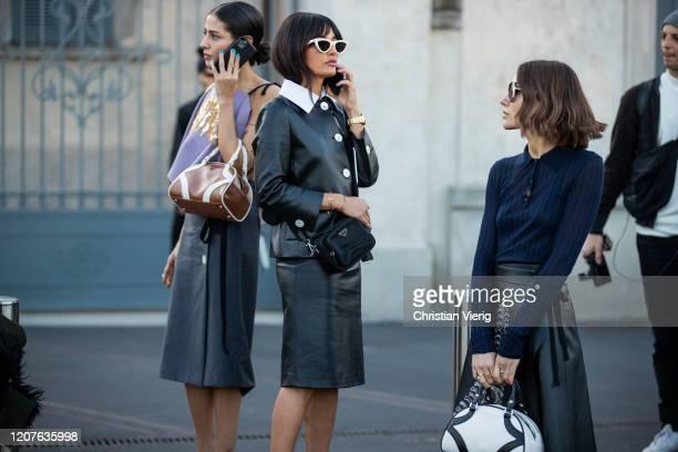Gilda Amborsio Giorgia Tordini and Amina Muaddi seen outside Prada during Milan Fashion Week Fall/Winter 20202021 on February 20 2020 in Milan Italy