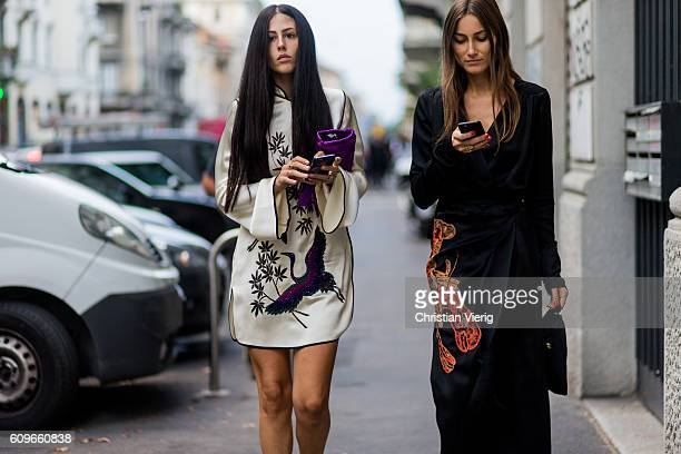 Gilda Ambrosio and Giorgia Tordini is seen outside No21 during Milan Fashion Week Spring/Summer 2017 on September 21 2016 in Milan Italy