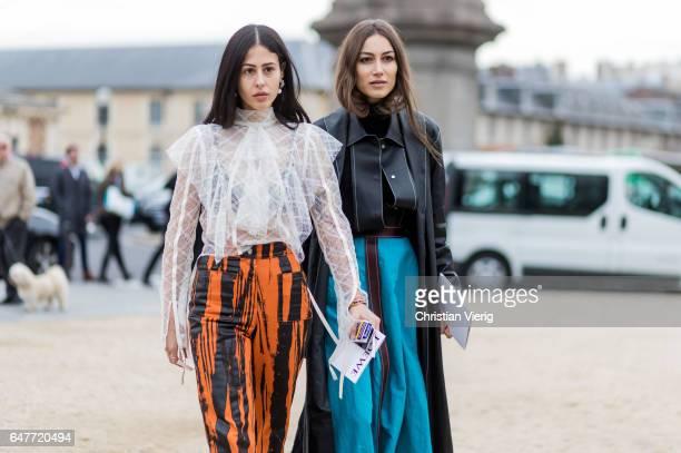 Gilda Ambrosio and Giorgia Tordini outside Loewe on March 3 2017 in Paris France