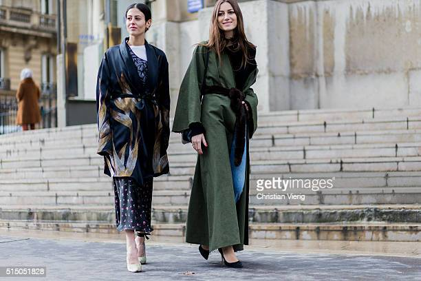 Gilda Ambrosio and Giorgia Tordini outside Miu Miu during the Paris Fashion Week Womenswear Fall/Winter 2016/2017 on March 9 2016 in Paris France
