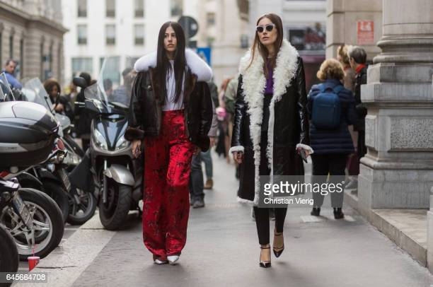 Gilda Ambrosio and Giorgia Tordini outside Salvatore Ferragamo during Milan Fashion Week Fall/Winter 2017/18 on February 26 2017 in Milan Italy