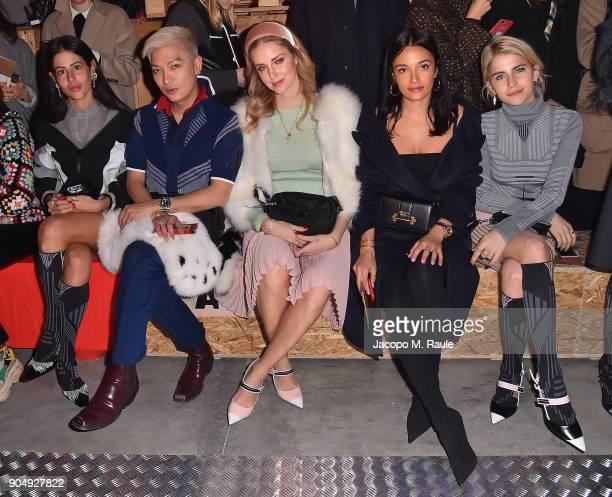 Gilda Ambrosio Bryanboy Chiara Ferragni Amina Muaddi and Caroline Daur attend Prada F/W 18 Men's Fashion Show on January 14 2018 in Milan Italy