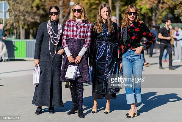 Gilda Ambrosio Candela Novembre Giorgia Tordini and Ece Sukan outside Chanel on October 4 2016 in Paris France