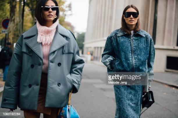 Gilda Ambrosio, Giorgia Tordini before the Miu Miu show during Paris Fashion Week Spring/Summer 2019 on October 2, 2018 in Paris, France. Gilda wears...
