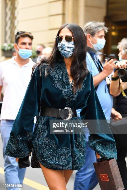 Gilda Ambrosio is seen arriving at the Four Season Hotel ahead of the Etro Fashion Show on July 15 2020 in Milan Italy