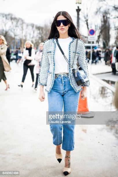 Gilda Ambrosio is seen in the streets of Paris before the Chanel show during Paris Fashion Week Womenswear Fall/Winter 2017/2018 on March 7 2017 in...