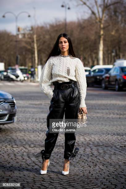 Gilda Ambrosio is seen in the streets of Paris before the Chanel show during Paris Fashion Week Womenswear Fall/Winter 2018/2019 on March 6 2018 in...