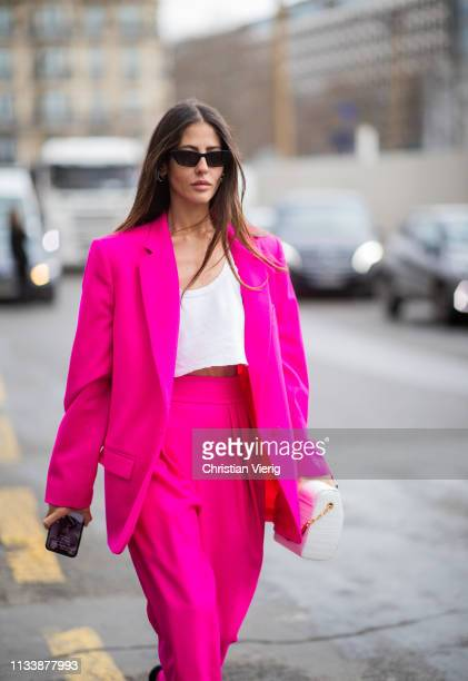 Gilda Ambrosio is seen wearing pink suit outside Giambattista Valli during Paris Fashion Week Womenswear Fall/Winter 2019/2020 on March 04 2019 in...