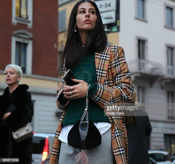 Gilda Ambrosio on the street before the Alberta Ferretti show during the Milan Fashion Week