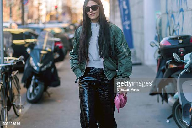 Gilda Ambrosio outside at No21 during Milan Men's Fashion Week Fall/Winter 2016/17 on January 17 in Milan, Italy