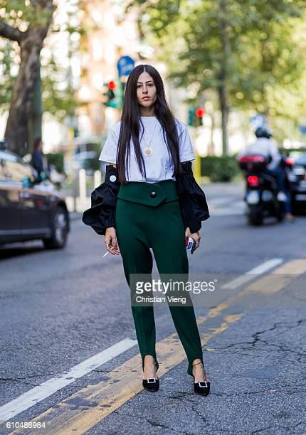 Gilda Ambrosio outside Marni during Milan Fashion Week Spring/Summer 2017 on September 25 2016 in Milan Italy