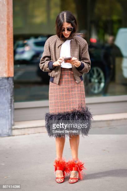 Gilda Ambrosio outside Moncler during Paris Fashion Week Womenswear Spring/Summer 2018 on October 3 2017 in Paris France