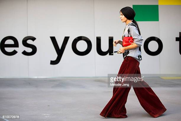Gilda ambrosio outside the Versace Show during Milan Fashion Week Spring/Summer 2017 on September 23 2016 in Milan Italy
