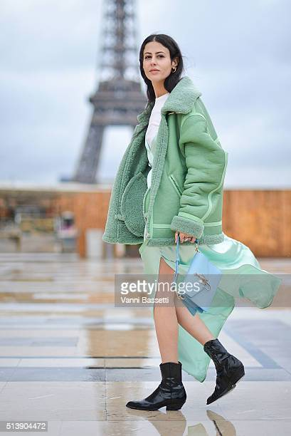 Gilda Ambrosio poses wearing an Attico dress and JW Anderson bag before the Haider Ackermann show at the Theatre de Chaillot during Paris Fashion...