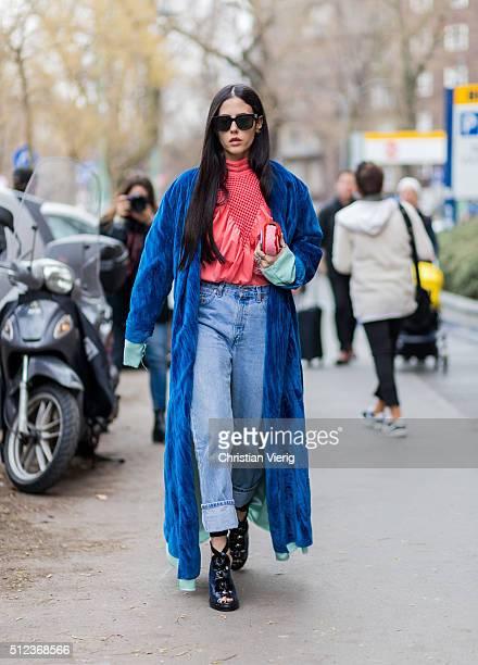 Gilda Ambrosio seen outside Fendi during Milan Fashion Week Fall/Winter 2016/17 on February 25 in Milan Italy