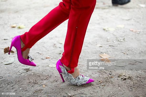 Gilda Ambrosio shoe details at the Paco Rabanne show on September 29 2016 in Paris France