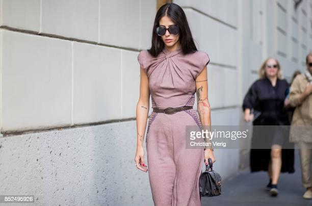 Gilda Ambrosio wearing a dress is seen outside Bottega Veneta during Milan Fashion Week Spring/Summer 2018 on September 23 2017 in Milan Italy