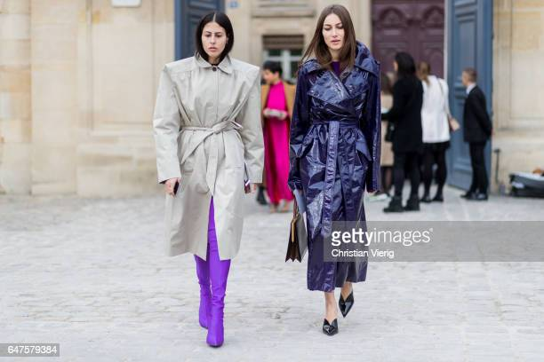 Gilda Ambrosio wearing a trench coat purple overknees and Giorgia Tordini wearing a purple coat outside Dior on March 3 2017 in Paris France