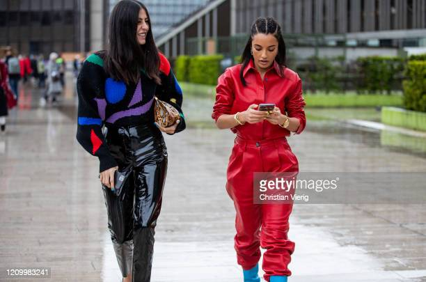 Gilda Ambrosio wearing black varnished pants knit Amina Muaddi wearing red button shirt and pants seen outside Y/Project during Paris Fashion Week...