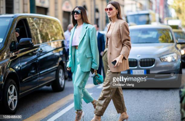 Gilda Ambrosio wearing mint pastel suit and Giorgia Tordini weairng beige blazer is seen outside Marni during Milan Fashion Week Spring/Summer 2019...