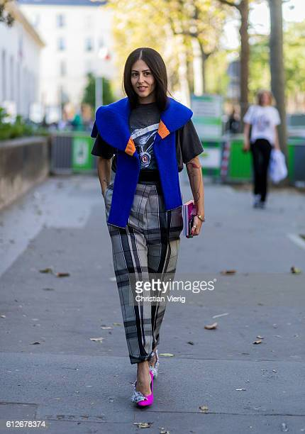Gilda Ambrosio wearing plaid pants outside Ellery on October 4 2016 in Paris France