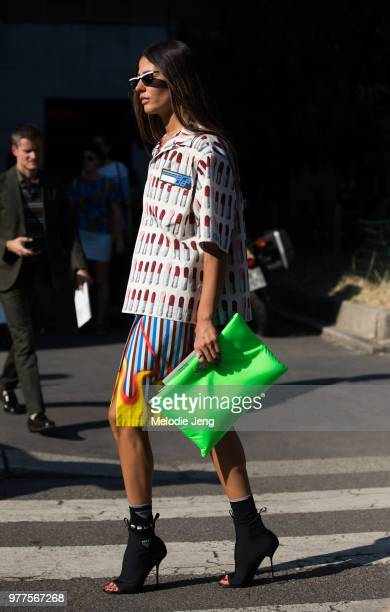 Gilda Ambrosio wears prada during Milan Men's Fashion Week Spring/Summer 2019 on June 17 2018 in Milan Italy
