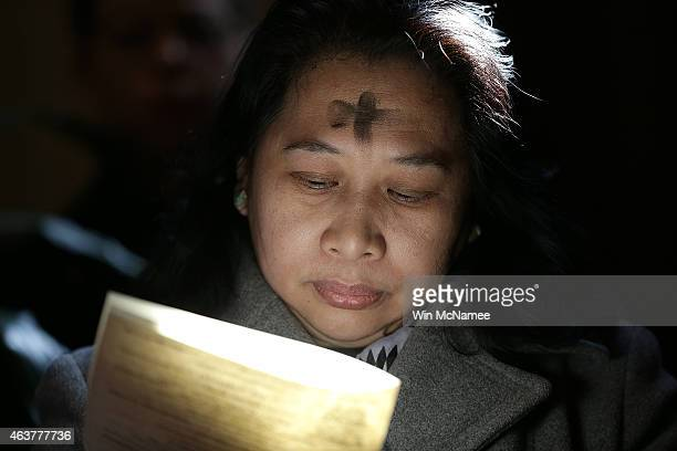 Gilda Baric attends Ash Wednesday Mass at the Cathedral of St. Matthew the Apostle February 18, 2015 in Washington, DC. On Ash Wednesday, Catholics...