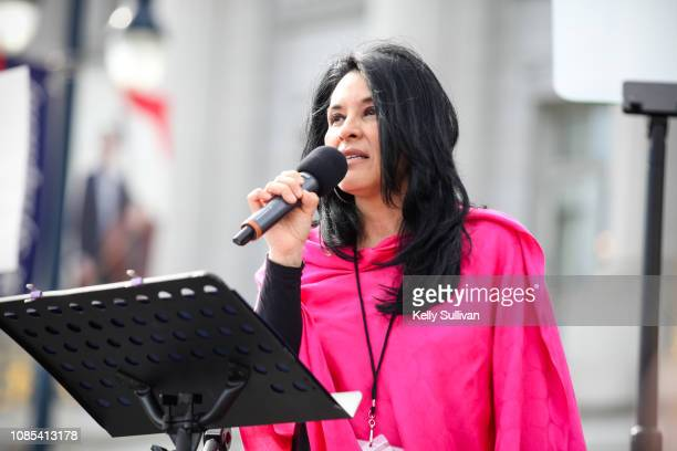 Gilda Gonzales CEO of Planned Parenthood NorCal speaks onstage at Civic Center Plaza during the Women's March San Francisco on January 19 2019 in San...
