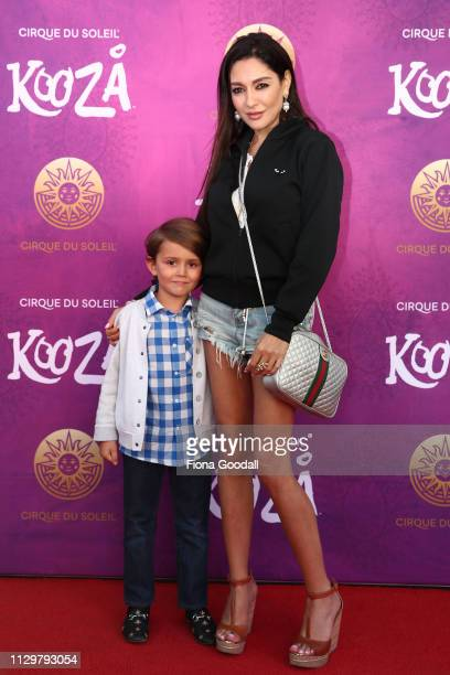 Gilda Kirkpatrick and son Lucan Polhill attend opening night of Cirque du Soleil KOOZA on February 15 2019 in Auckland New Zealand
