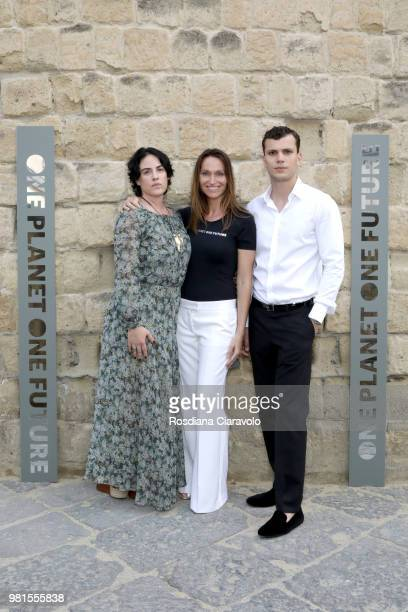 Gilda Moratti Anne de Carbuccia and Cristi Isofii attend One Planet One Future Cocktail Party on June 22 2018 in Naples Italy