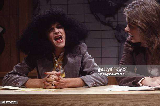 Gilda Radner and Jane Curtain are photographed on the set of Saturday Night Live in 1978 in New York City CREDIT MUST READ Ken Regan/Camera 5 via...
