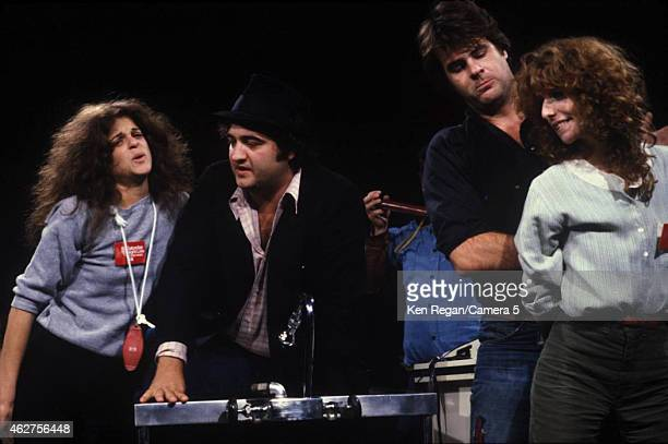 Gilda Radner John Belushi Dan Ackroyd and Laraine Newman are photographed on the set of Saturday Night Live in 1978 in New York City CREDIT MUST READ...