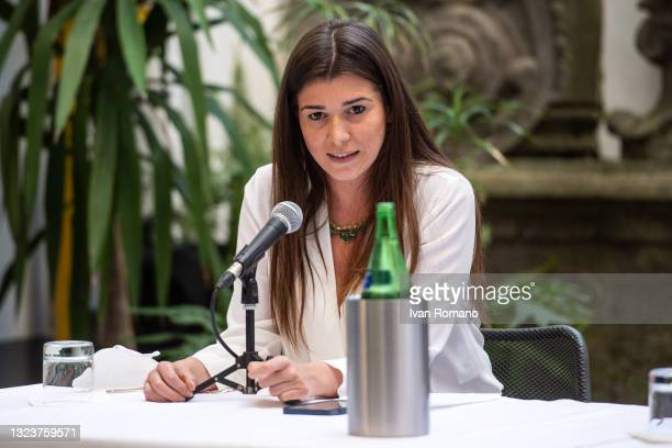 Gilda Sportiello attends the press conference on June 15, 2021 in Naples, Italy. The political head of the 5 Star Movement and former Prime Minister...