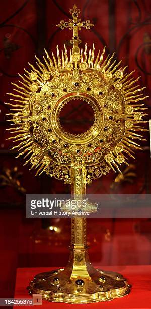 Gilded copper monstrance by John Hardman and co Made for Saint Scholastica's Priory in Atherstone Circa 18601880