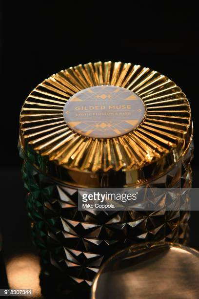 Gilded Muse candle on display at the Etihad Airways VIP Lounge at NYFW The Shows during New York Fashion Week The Shows on February 14 2018 in New...